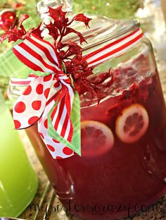Cran-Raspberry Punch ~ 1 large bottle cran-raspberry drink, 1 bag frozen raspberries, 1 lemon (thinly sliced), 1/2 bag ice, 1 bottle 7Up. Chill ingredients and combine in punch bowl.