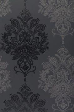 Papier peint baroque noir et gris / Black & grey baroque wallpaper… Black Wallpaper Bedroom, Damask Wallpaper, Painting Wallpaper, Designer Wallpaper, Gothic Wallpaper, Damask Stencil, Wall Wallpaper, Pattern Wallpaper, Tattoo Studio