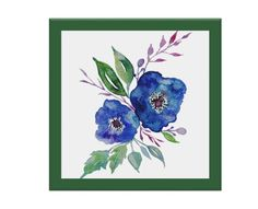 Handmade Tile Coaster - Vintage Watercolor Blue Morning Glory in Floral Bouquet, Victorian, Green Border, beach house, kitchen, den by thecoasterroller on Etsy