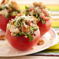 Fresh Bruschetta Chicken-Stuffed Tomatoes - Fill up four large tomatoes with deli-roasted chicken and all the fixings for a low-carb, low-calorie meal that won't leave you hungry. Nutrition Facts Per Serving: Servings Per Recipe: 4, cal.(kcal): 249, Fat, total(g): 14, chol.(mg): 64, sat. fat(g): 4, carb.(g): 16, Monosaturated fat(g): 3, Polyunsaturated fat(g): 1, Trans fatty acid(g): 0, fiber(g): 4, sugar(g): 9, pro.(g): 17.