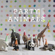 Party Animals! Tiny paper party hats on animal figurines - fun for kids and adults. @Jamie Dorobek {C.R.A.F.T.}
