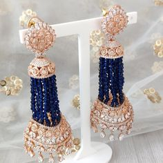 Jhumki Earrings, Dangle Earrings, Dangles, Candle Holders, Navy Blue, Rose Gold, Beads, Silver, Wedding