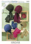 Hat and Gloves in Sirdar Country Style DK and Wash 'n' Wear Double Crepe DK - 5840 Sirdar Knitting Patterns, Crochet Patterns, Knitting Ideas, Online Yarn Store, Knitted Hats, Crochet Hats, Dk Weight Yarn, Crochet Books, Weaving Patterns