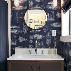 Ships ahoy! Unique ship wallpaper bathroom.
