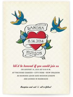 Retro Tattoo Wedding Invitations