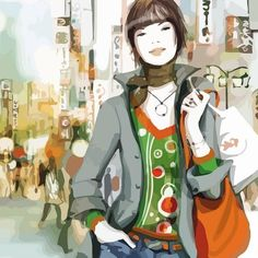 Wallpapers of fashion illustrations by French illustrator Sophie Griotto 1024x1024 (03)