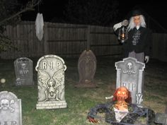 Grave Yard: I made the Grave-Digger out of PVC pipe and an old costume