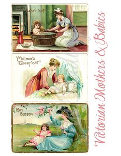 Victorian Mothers and Babies Digital Post Card by TuiTrading