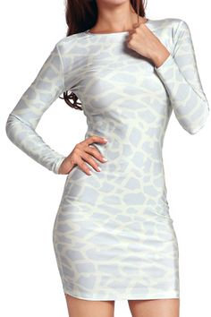 Snakeskin Hollow-out Bodycon Dress