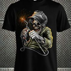 Welders Shirt Design With Skull Grinning and Welders Helmet by ferBow77