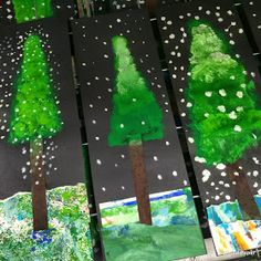 Need a quick winter project that adds a touch of the beauty of nature? How about some beautiful Alpine trees with snow? Students first picked previously painted paper squares to create the gr… Christmas Art Projects, Winter Art Projects, School Art Projects, Winter Project, Kindergarten Art, Preschool Art, Arte Elemental, First Grade Art, Theme Noel