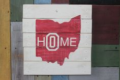 Handpainted Ohio State HOME wooden 12 x 12 sign by TheAquaArrow