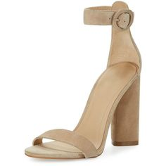 Kendall + Kylie Giselle Suede Chunky-Heel Sandal ($130) ❤ liked on Polyvore featuring shoes, sandals, beige, chunky heel shoes, open toe shoes, ankle strap shoes, thick heel sandals and beige shoes