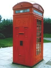 Red telephone box with post box in one side. Rochdale, Post Box, Telephone, Filing Cabinet, Locker Storage, Lettering, Wall, Red, Furniture
