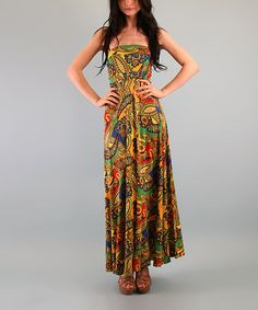 Take a look at this Green & Yellow Paisley Avery Maxi Dress by Voom on #zulily today!