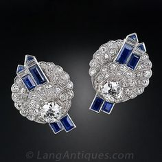 Art Deco Diamond Sapphire and Platinum Earrings - 20-91-705 - Lang Antiques