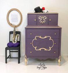 gold purple vintage dresser - painted dresser - painted furniture #affiliate