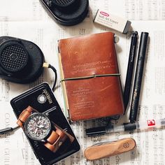 Today is black and brown day. @masterdynamic headphone #rembrandt watercolor #citizen nighthawk #travelersnote #travelersnotebook Star edition #victorinox knife #derwent eraser #wickedlaser #carandache water brush #kaweco special 2.0 #stationery #statione | Flickr - Photo Sharing!
