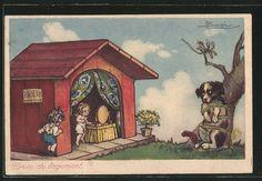 carte postale ancienne: CPA Illustrateur Adolfo Busi: Puppen wohnen in chienehütte