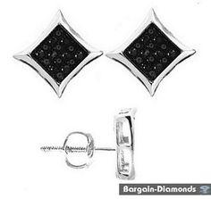 black diamond ice out 11x11 kite star screwback studs .12 ct earrings unisex men