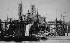Montréal, Canada, 1870. L'église N.Dame et l'édifice des Douanes (détail), depuis le port. My Great Grandpa, Francois Xavier Boucher, lived there.