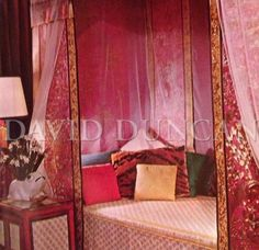 A Tony Duquette interior designed for Marella and Gianni Agnelli in Waikiki. The bed is draped with antique textiles and covered with Fortuny fabric, 1967.