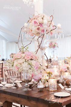 pink and white candelabra wedding centerpiece ~  we ❤ this! moncheribridals.com