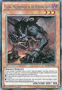 Original Konami YuGiOh Trading Card aus Secrets of Eternity.  SECE-EN084  Cagna, Malebranche of the Burning Abyss (Cagna, Grimmetatze des Brennenden Abgrunds)  Seltenheit: Rare - 1st Edition  GBA-Code: 09342162   Jetzt günstig bei eBay kaufen!