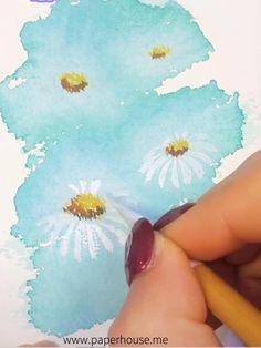 Little Daisy Watercolor Tutorial Watercolor Flowers Tutorial, Watercolour Tutorials, Easy Watercolor, Watercolour Painting, Simple Watercolor Flowers, Watercolor Sunflower, Watercolor Landscape Paintings, Watercolor Artists, Watercolors