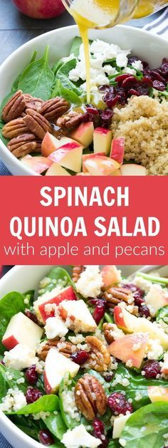 Spinach and Quinoa Salad with Apple and Pecans. SO FULL OF FLAVOR! My favorite healthy lunch and dinner side dish! | http://www.kristineskitchenblog.com