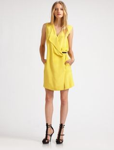 3.1 Phillip Lim Silk Vneck Dress in Yellow