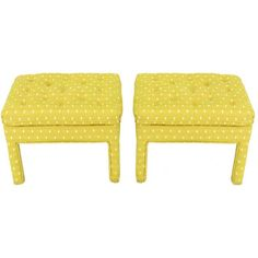 Pair Fully Upholstered Button-Tufted Parsons Benches, Assemblage