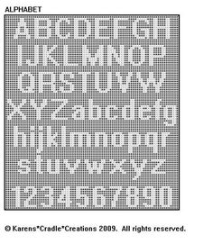 Original filet crochet pattern artwork © Karens Cradle Creations, Only two stitches are used in thiseasy open, lacey filet crochet pattern – the chain and the double crochet stitch. Alphabet A, Crochet Alphabet Letters, Crochet Letters Pattern, Cross Stitch Letter Patterns, Cross Stitch Letters, Crochet Pattern, Bobble Crochet, Bobble Stitch, Crochet Stitches