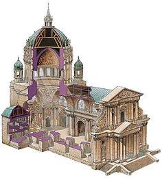 Chapelle du Val-de-Grâce, Paris.- François Mansart est crédité des réalisations suivantes: Chateau de Berny (1623-25)- Parties du château de la Ferté St Aubin - Façade de l'église du couvent des Feuillants de Paris - Temple du Marais (ancienne chapelle du couvent de la Visitation Ste Marie) 1632-34 à Paris, sa construction aété assurée par l'entrepreneur maître-maçon Michel Villedo - Aile Gaston d'Orléans du château de Blois (1635-38) qui servira de modéle pour le Palais du Luxembourg -
