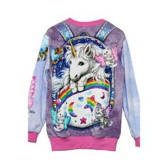 Kitten Fairies Unicorn All Over Printed Long Sleeve Sweater ❤ liked on Polyvore featuring tops, sweaters, tie dye top, tie-dye tops, tie dyed tops, long sleeve tops and long sleeve sweaters