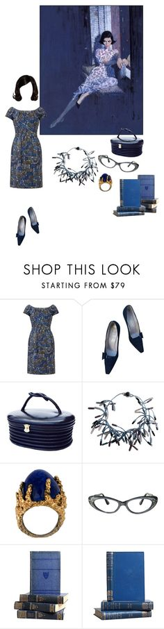 """In a Blue Mood"" by kellymailinglist ❤ liked on Polyvore featuring Frank Usher, Roger Vivier and vintage"