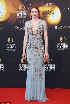Red carpet ready: Eleanor Tomlinson channels Hollywood glamour in a pastel blue lace gown as she joins Joanne Froggatt at the Monte Carlo TV Festival on Tuesday Eleanor Tomlinson, Monte Carlo, Stunning Dresses, Nice Dresses, Long Dresses, Demelza Poldark, Column Dress, Gala Dresses, Hair Color Blue