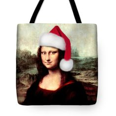 "Mona Lisa With Santa Hat Tote Bag 18"" x 18"" by Gravityx9  Designs #Spoofingthearts #gravityx9 #finaartAmerica"