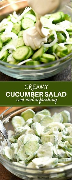 Creamy Cucumber Salad with sweet onions and a tangy mayo dressing. Cool and refr… Creamy Cucumber Salad with sweet onions and a tangy mayo dressing. Cool and refreshing, it's the perfect side dish for cookouts and backyard barbecues! Cucumber Salad Mayo, Cucumber Recipes, Easy Salads, Healthy Salad Recipes, Summer Salads, Cucumber Dressing, Fruit Salads, Side Dish Recipes, Side Dishes