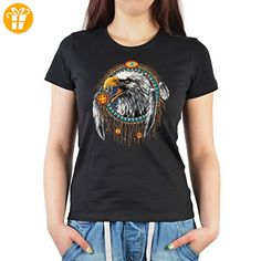 Indianer-Damen/Girlie/Ladies-Shirt mit Adler-Motiv: Dreamcatcher Eagle - tolle Geschenkidee (*Partner-Link)