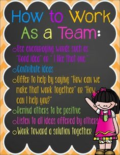 Cute poster to enforce positive teamwork in your classroom! :)Enjoy!! Would love your feedback!!