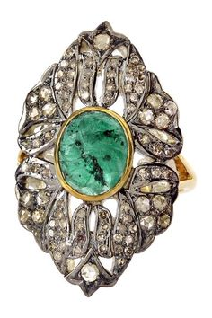 Flower Filigree Emerald & Diamond Ring - 1.15 ctw by United Gemco Inc. on @HauteLook