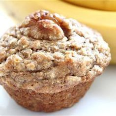 Banana Oat Muffins | These healthy breakfast goodies are made lighter with baking powder and gain nice texture with rolled oats.