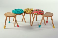 A Family of Uphlostered Milking Stools