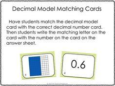 DECIMAL MODEL MATCHING CARDS - TeachersPayTeachers.com