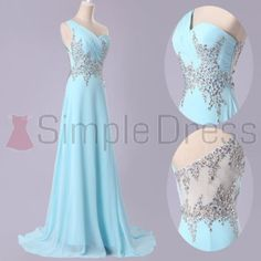 Simple Dress Hot-selling A-line Beading One-shoulder Illusion Back Light Sky Blue Long Chiffon Prom Dresses/Evening Dresses CHPD-7008