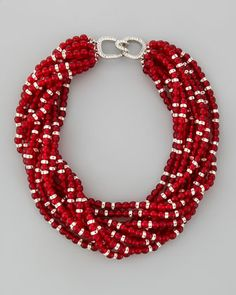 Multi-Strand Beaded Torsade Necklace, Red by Kenneth Jay Lane at Neiman Marcus.