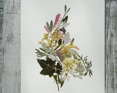 Original pressed flowers artwork Herbarium art Botanical art Dried flowers Wall art Floral picture Plant art Floral collage Flower picture by FloralCollage on Etsy