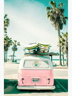 Vintage Aesthetic Discover Pink Kombi Van Surf Art Poster by PinkJellyfishCo Bedroom Wall Collage, Photo Wall Collage, Picture Wall, Vw Beach, Beach Pink, Beach Travel, Stretched Canvas Prints, Canvas Art Prints, Wall Prints