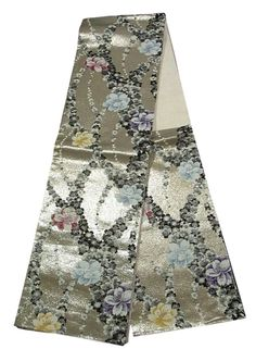 """This is a glamorous Fukuro obi with colorful flowers on black and white """"Sakura""""(cherry blossom) pattern, which is woven"""